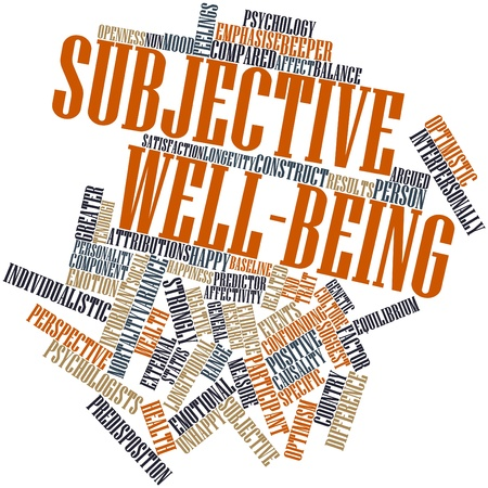 predictor: Abstract word cloud for Subjective well-being with related tags and terms