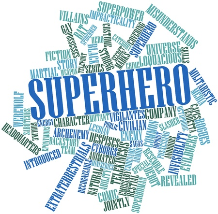 possesses: Abstract word cloud for Superhero with related tags and terms