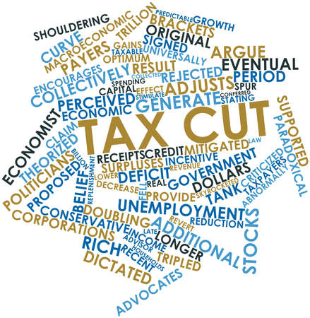 mitigated: Abstract word cloud for Tax cut with related tags and terms