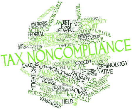 Abstract word cloud for Tax noncompliance with related tags and terms Stock Photo - 16739247
