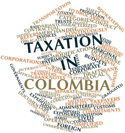 timbre: Abstract word cloud for Taxation in Colombia with related tags and terms