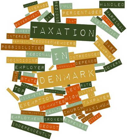 adjusted: Abstract word cloud for Taxation in Denmark with related tags and terms
