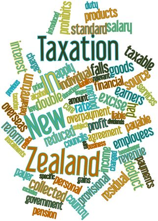 new zealand word: Abstract word cloud for Taxation in New Zealand with related tags and terms Stock Photo