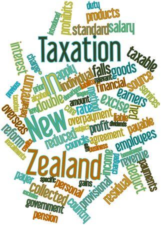 excludes: Word cloud astratto per la fiscalit� in Nuova Zelanda con tag correlati e termini