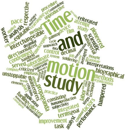 continuation: Abstract word cloud for Time and motion study with related tags and terms