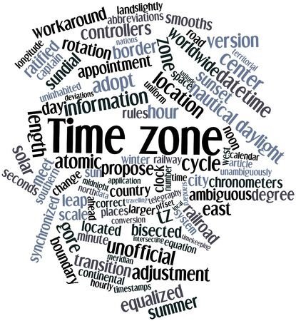 timekeeping: Abstract word cloud for Time zone with related tags and terms Stock Photo