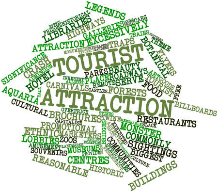 enclave: Abstract word cloud for Tourist attraction with related tags and terms Stock Photo