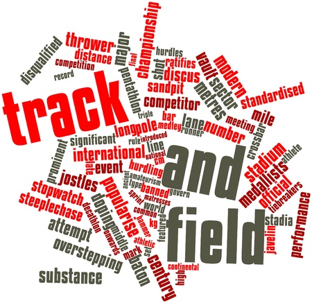 official record: Abstract word cloud for Track and field with related tags and terms Stock Photo