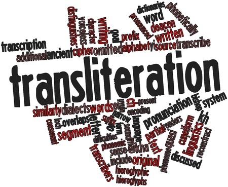 ei: Abstract word cloud for Transliteration with related tags and terms Stock Photo