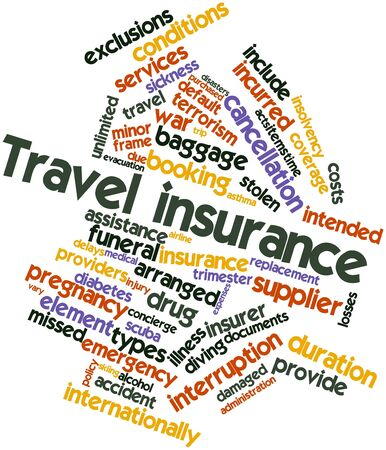 financial condition: Abstract word cloud for Travel insurance with related tags and terms
