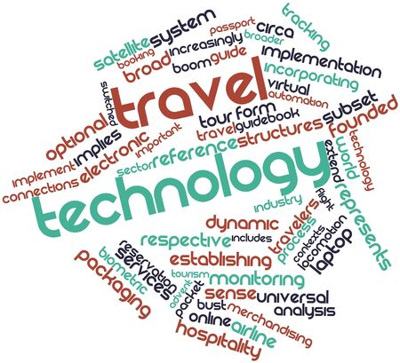 contexts: Abstract word cloud for Travel technology with related tags and terms Stock Photo