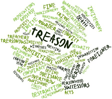 conspire: Abstract word cloud for Treason with related tags and terms