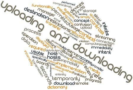 Abstract word cloud for Uploading and downloading with related tags and terms