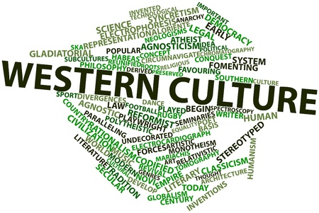 gladiatorial: Abstract word cloud for Western culture with related tags and terms