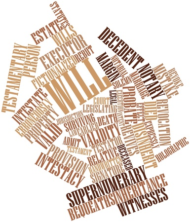 formalities: Abstract word cloud for Will with related tags and terms Stock Photo