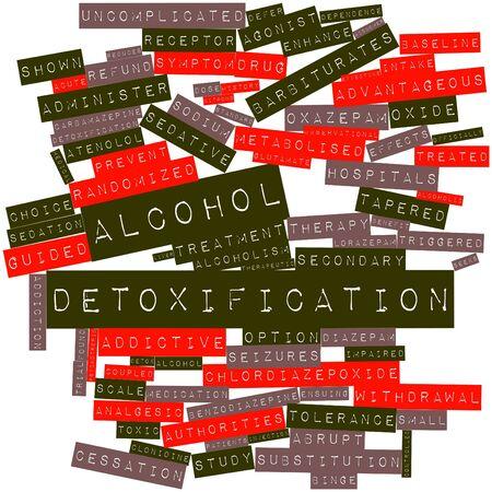 observational: Nube palabra abstracta para la desintoxicaci�n de alcohol con etiquetas y t�rminos relacionados Foto de archivo