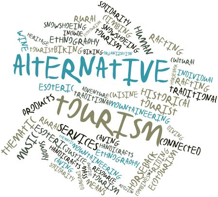 individual: Abstract word cloud for Alternative tourism with related tags and terms Stock Photo