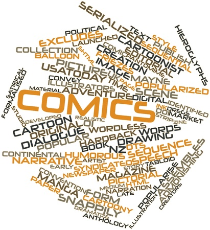 syndicated: Abstract word cloud for Comics with related tags and terms