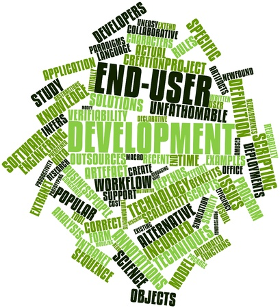 Abstract word cloud for End-user development with related tags and terms Stock Photo - 16740209