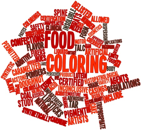 synthetically: Abstract word cloud for Food coloring with related tags and terms