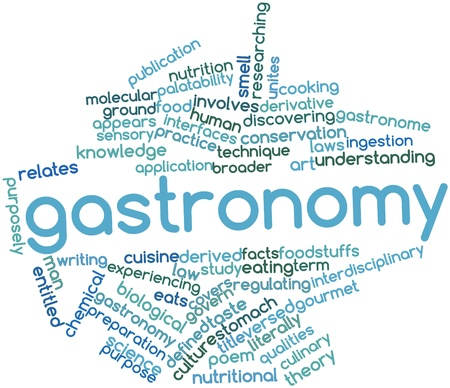 govern: Abstract word cloud for Gastronomy with related tags and terms