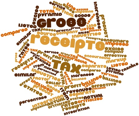 imposed: Abstract word cloud for Gross receipts tax with related tags and terms Stock Photo
