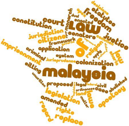 instances: Word cloud astratto per legge della Malesia con tag correlati e termini Archivio Fotografico