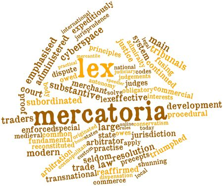 peculiarities: Abstract word cloud for Lex mercatoria with related tags and terms