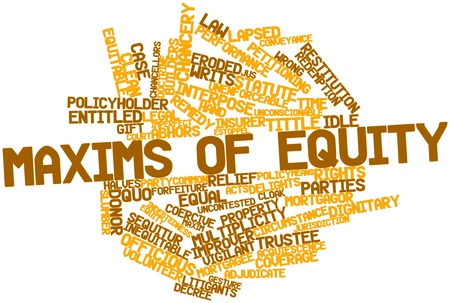 equity: Abstract word cloud for Maxims of equity with related tags and terms Stock Photo