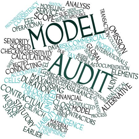 colloquial: Abstract word cloud for Model audit with related tags and terms Stock Photo