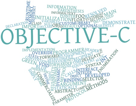 override: Abstract word cloud for Objective-C with related tags and terms Stock Photo
