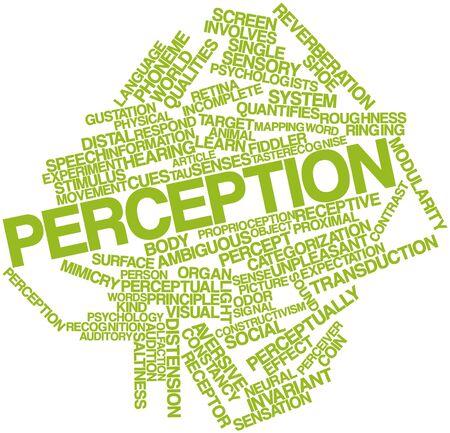 wahrnehmung: Abstraktes Wort-Wolke f�r Perception mit verwandten Tags und Begriffe Lizenzfreie Bilder