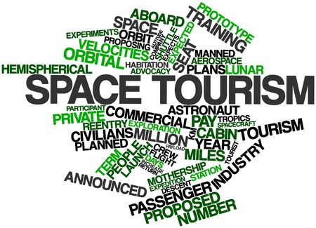 announced: Abstract word cloud for Space tourism with related tags and terms