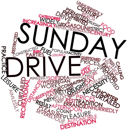 Abstract word cloud for Sunday drive with related tags and terms