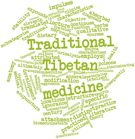 tibetan: Abstract word cloud for Traditional Tibetan medicine with related tags and terms Stock Photo
