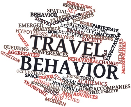 conducted: Abstract word cloud for Travel behavior with related tags and terms
