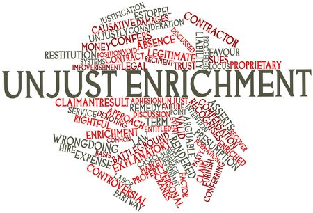 Abstract word cloud for Unjust enrichment with related tags and terms Stock Photo - 16740009