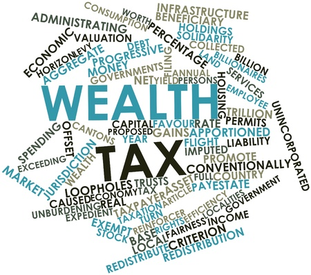 permits: Abstract word cloud for Wealth tax with related tags and terms Stock Photo