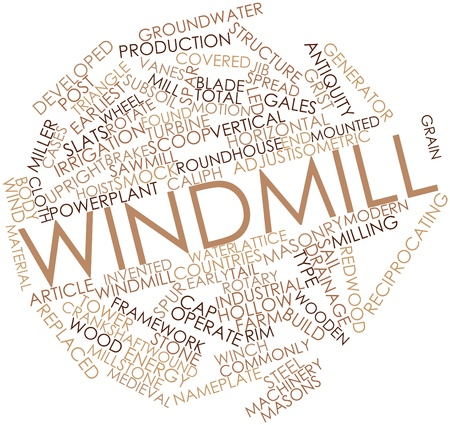 steam turbine: Abstract word cloud for Windmill with related tags and terms