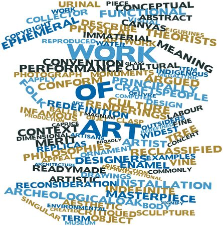 indefinite: Abstract word cloud for Work of art with related tags and terms