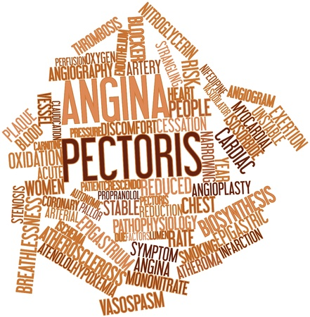 prognostic: Abstract word cloud for Angina pectoris with related tags and terms Stock Photo