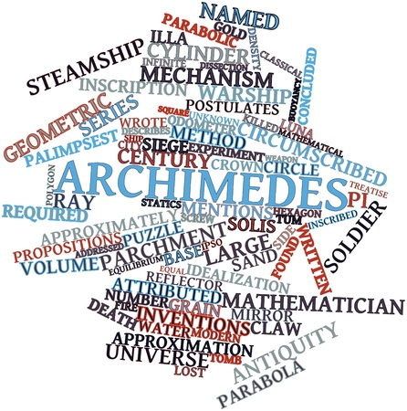 discovered: Abstract word cloud for Archimedes with related tags and terms