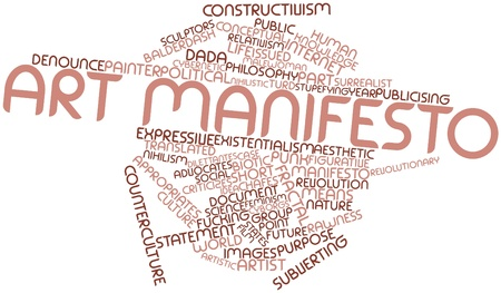 criticizes: Abstract word cloud for Art manifesto with related tags and terms Stock Photo