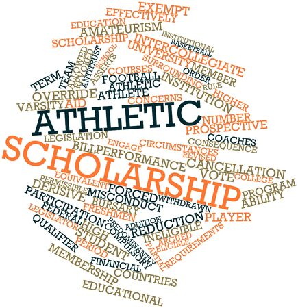 overturn: Abstract word cloud for Athletic scholarship with related tags and terms