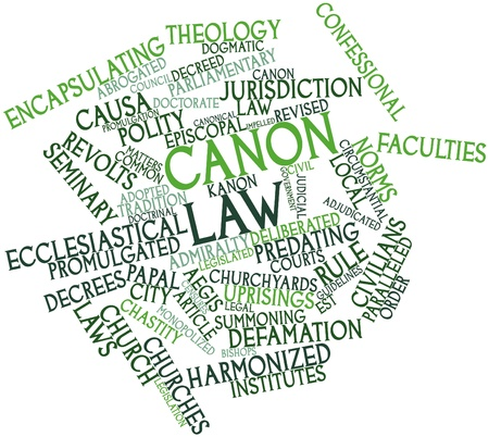 promulgated: Abstract word cloud for Canon law with related tags and terms Stock Photo