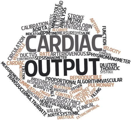 bpm: Abstract word cloud for Cardiac output with related tags and terms Stock Photo