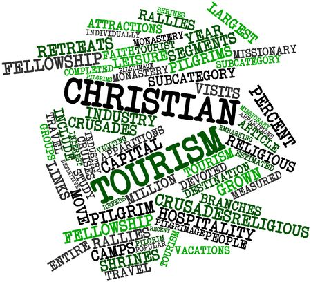 measured: Abstract word cloud for Christian tourism with related tags and terms