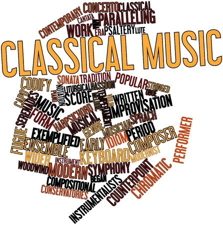 improvised: Abstract word cloud for Classical music with related tags and terms Stock Photo