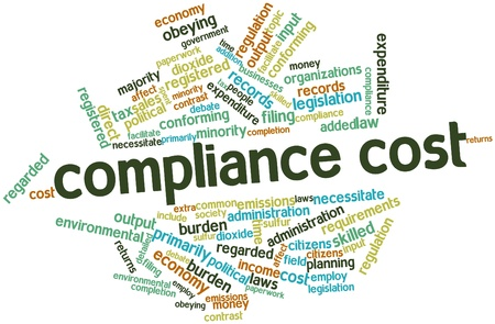 legislation: Abstract word cloud for Compliance cost with related tags and terms