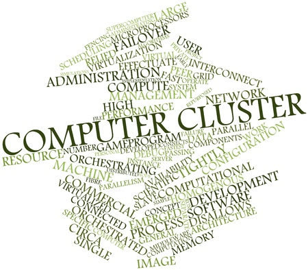 the fastest: Abstract word cloud for Computer cluster with related tags and terms Stock Photo